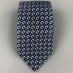 ERMENEGILDO ZEGNA Navy & Blue Geometric Silk Tie