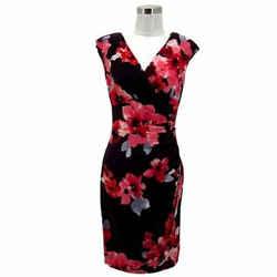 N1455 Lauren Ralph Lauren Designer Dress Size 6 S Pink Floral Sheath Sleeveless