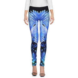 8/10 New $630 Roberto Cavalli Gym Blue Tropical Print Yoga Leggings Sporty Pants
