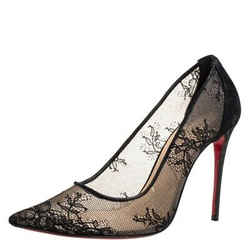 Christian Louboutin Black Lace And Suede Leather Trim Pointed Toe Pumps Size