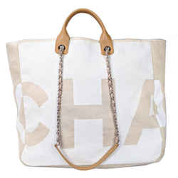 Chanel 18P Beige White Canvas Large 2 Way Deauville Shopping Tote