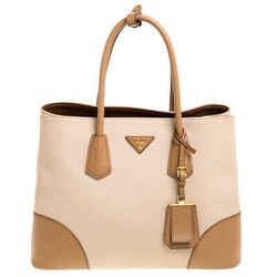 Prada Two Tone Canvas and Saffiano Cuir Leather Medium Double Handle Tote