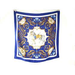 Hermes Paris Cheval Turc Horse Motif Blue Silk 90cm Square Scarf