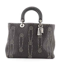 Supple Lady Dior Bag Studded Embossed Leather Large