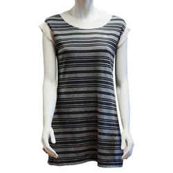 Chanel Gray S/s 2007 And White Striped Rugby Cotton Cap Sleeve Mini Dress
