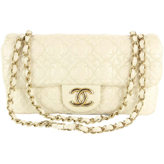 Chanel Cream Quilted Flower Embossed Medium Gold Chain Flap Bag 862116