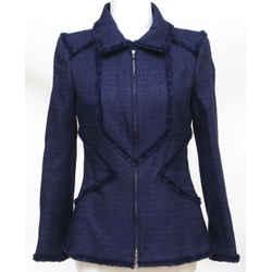 CHANEL Jacket Blazer Coat Tweed Navy Blue Iridescent Gunmetal Buttons 10P Sz 38