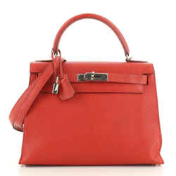 Kelly Handbag Vermillion Chevre Jhansi with Palladium Hardware 28