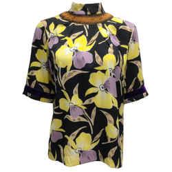 Dries van Noten Purple & Yellow Floral Printed Short Sleeved Silk Blouse