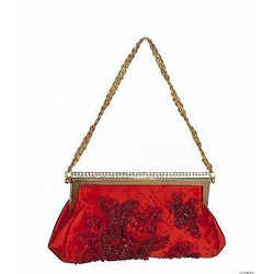 $2,698 New Valentino Red Beaded Evening Clutch Bag