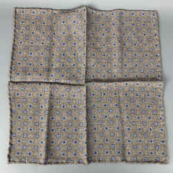 BRUNELLO CUCINELLI Taupe & Blue Reversible Wool Pocket Square