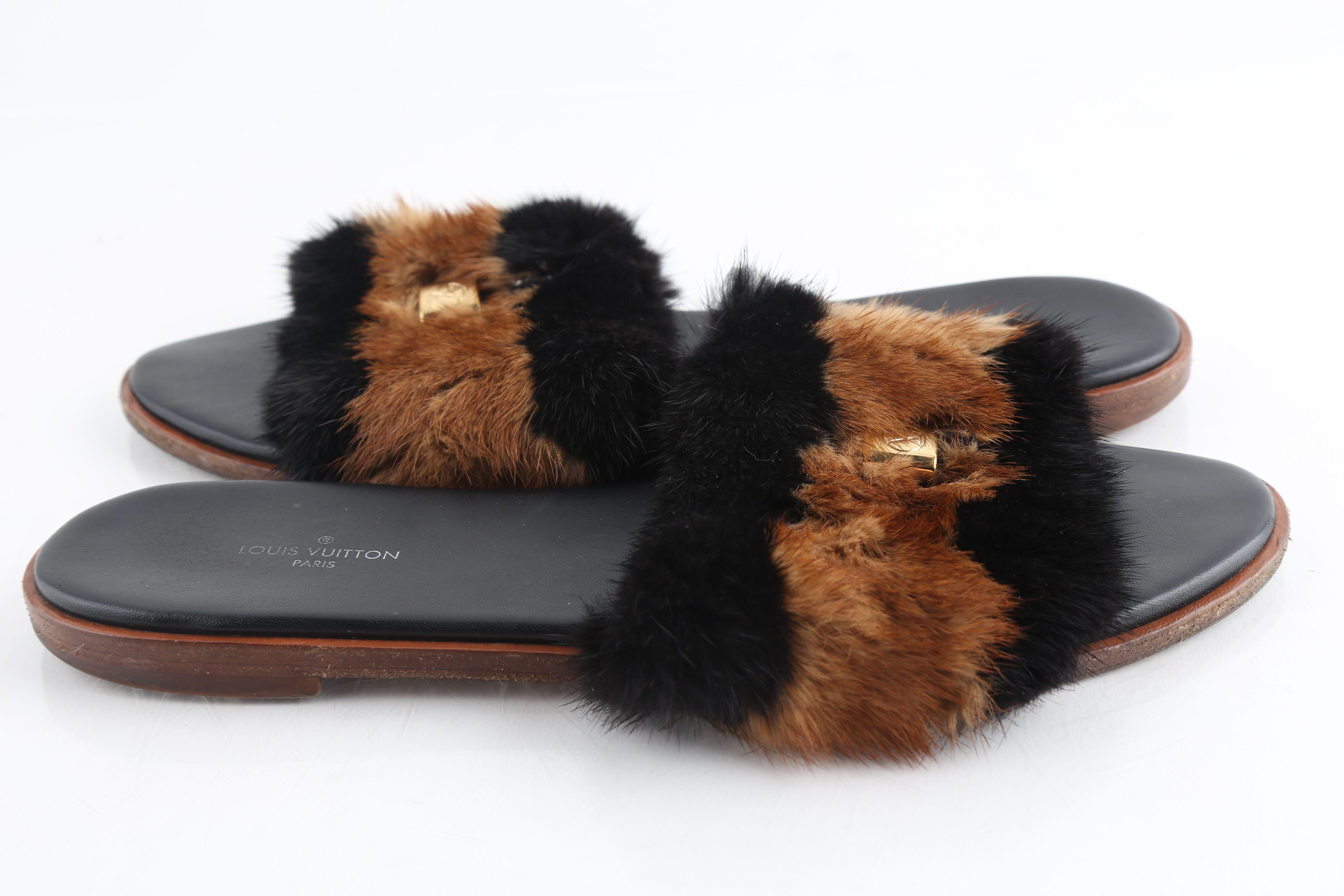 louis vuitton fur slippers