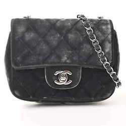 Auth Chanel Chanel Velor Mini Matrasse Coco Mark Chain Shoulder Bag Black