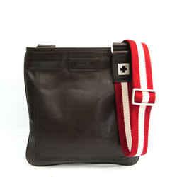 Bally Taisten-sm Unisex Leather Shoulder Bag Dark Brown BF534894
