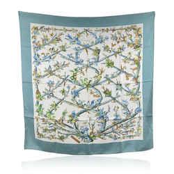 Hermes Paris Vintage Silk Scarf Bocage 1971 Anne Gavarni Blue