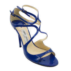 Jimmy Choo Cobalt Lang Pantent Leather Strappy Sandals