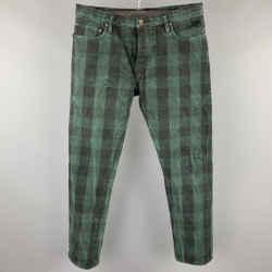 RUGBY RALPH LAUREN Size 36 Green & Black Buffalo Plaid Denim Button Fly Jeans