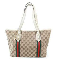 Gucci - Medium Tote - Canvas Gg Monogram - Web Stripes - Gold Boot & Bag Charms