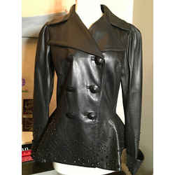 Alexander Mcqueen Size 40 Black Leather Peplum Beeded Jacket 2400-123-122419