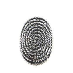 Cable Coil Oval Ring Sterling Silver with Diamonds