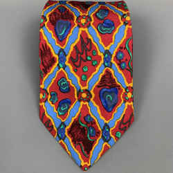 CHRISTIAN LACROIX Red & Blue Silk Tie