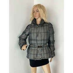 Burberry London Black and Gray Puffer Down Jacket Coat Size L B243 Authentic