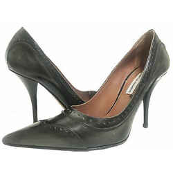 Tabitha Simmons Leather Pointed Toe Pumps Gray Size 38