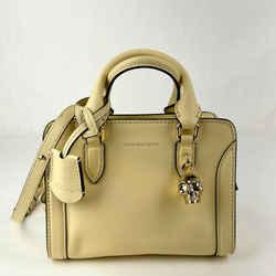 $1295 Alexander Mcqueen Light Yellow Leather Skull Padlock Handbag 419781 7200