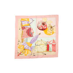 Light Pink & Multicolor Hermes Charmes des Plages Normande II Silk Scarf
