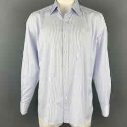 TOM FORD Size XL White & Blue Pinstripe Cotton Button Up French Cuffs Long Sleeve Shirt