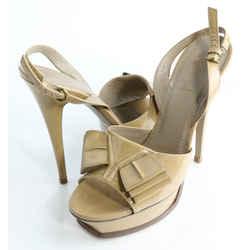 Saint Laurent Paris Patent Leather Bow Platform Slingback Sandals