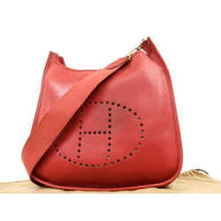 Herms Red Courchevel Leather Evelyne Gm 232357