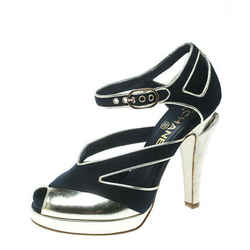 Chanel Black Canvas With Metallic Gold Leather Cut Out Peep Toe Pumps Size 36.5