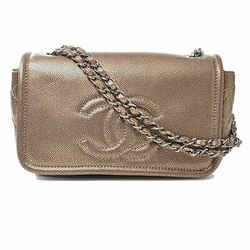 Auth Chanel Chanel Caviar Skin Coco Mark Chain Shoulder Bag Bronze