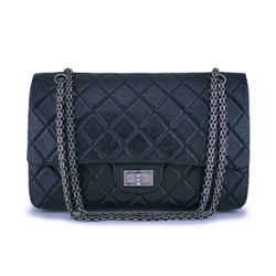 Chanel Black Aged Calfskin Reissue Large 227 2.55 Flap Bag RHW