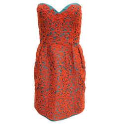 Oscar de la Renta Teal and Burnt Orange Lace Overlay Strapless Cocktail Dress