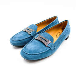 Tod's Size 9 Teal Suede Lane Crystal Penny Loafers