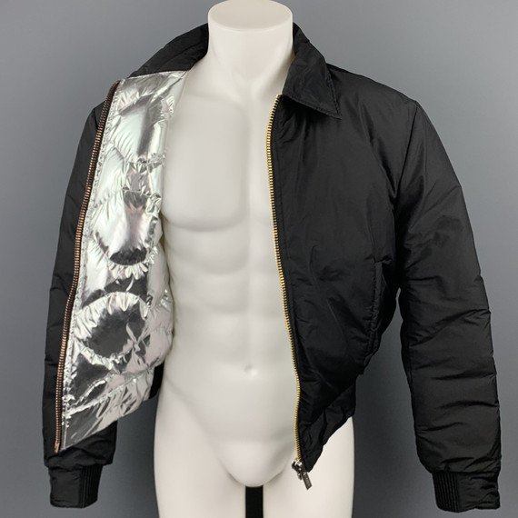 CALVIN KLEIN COLLECTION Size 38 Black Polyamide Silver Quilted Lining Zip Up Jacket