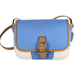 "Coach Cotton Leather Buckle Flap Over Blue/White/Tan Cross Body Bag 8""L x 5.5""H x 3""W"
