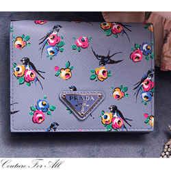 NEW $595 PRADA Blue Saffiano Leather SWALLOW BIRD FLORAL Print WALLET 1MV204