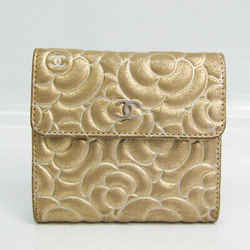 Chanel Camellia Women's Leather Wallet (tri-fold) Gold BF523989