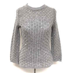 Oscar De La Renta Silver-Gray Sequined Silk-Blend Crochet Knit Top