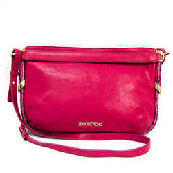Jimmy Choo Women's Leather,Leather Handbag,Shoulder Bag Black,Pink BF520464
