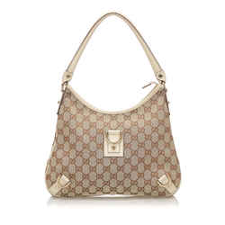 Vintage Authentic Gucci Brown Beige Canvas Fabric Abbey GG Shoulder Bag Italy