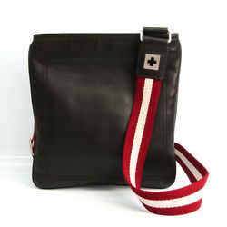 Bally Taisten-sm Unisex Leather Shoulder Bag Dark Brown BF536038