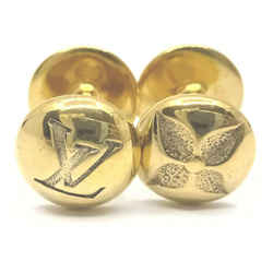 Louis Vuitton Gold Tone Fleur Logo Cuff Links Monogram Flower 861789
