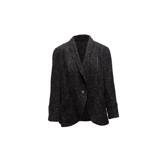 Charcoal Chanel Tweed Single-Button Blazer