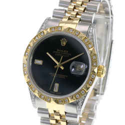 Rolex Mens Datejust Black Diamond Dial Diamond Lugs Bezel 36mm