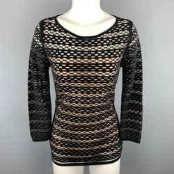 Escada Size S Black Striped Mesh Lined Pullover