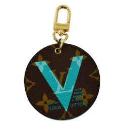 LOUIS VUITTON Illustre V Monogram Canvas Key Holder Bag Charm Turquoise